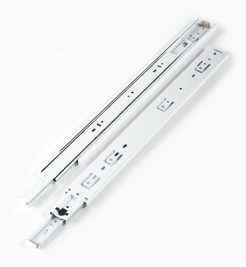 02K3718 - Coulisses de 18po à extension complète pour charge de 100lb, fini blanc, la paire
