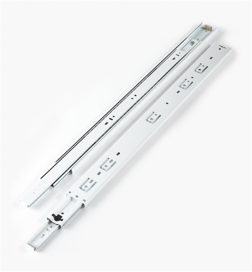 02K3722 - Coulisses de 22po à extension complète pour charge de 100lb, fini blanc, la paire