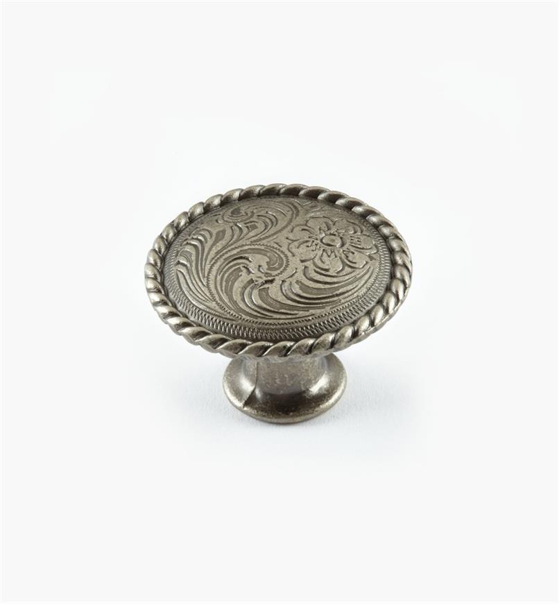 """02A4601 - 1 1/4"""" x 7/8"""" Old Silver Knob"""