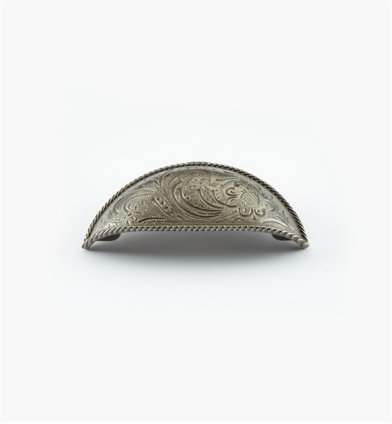 02A4605 - Poignée en coupelle de 3po, série Acanthus, fini argent ancien