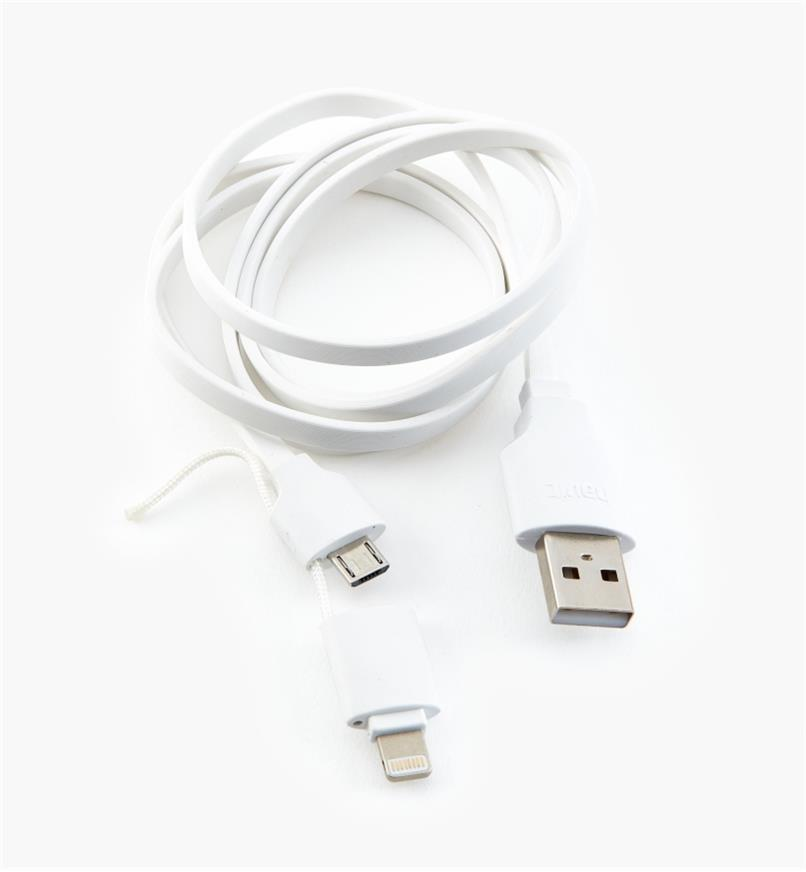 03K0690 - 2-in-1 USB Charging Cable, 38""