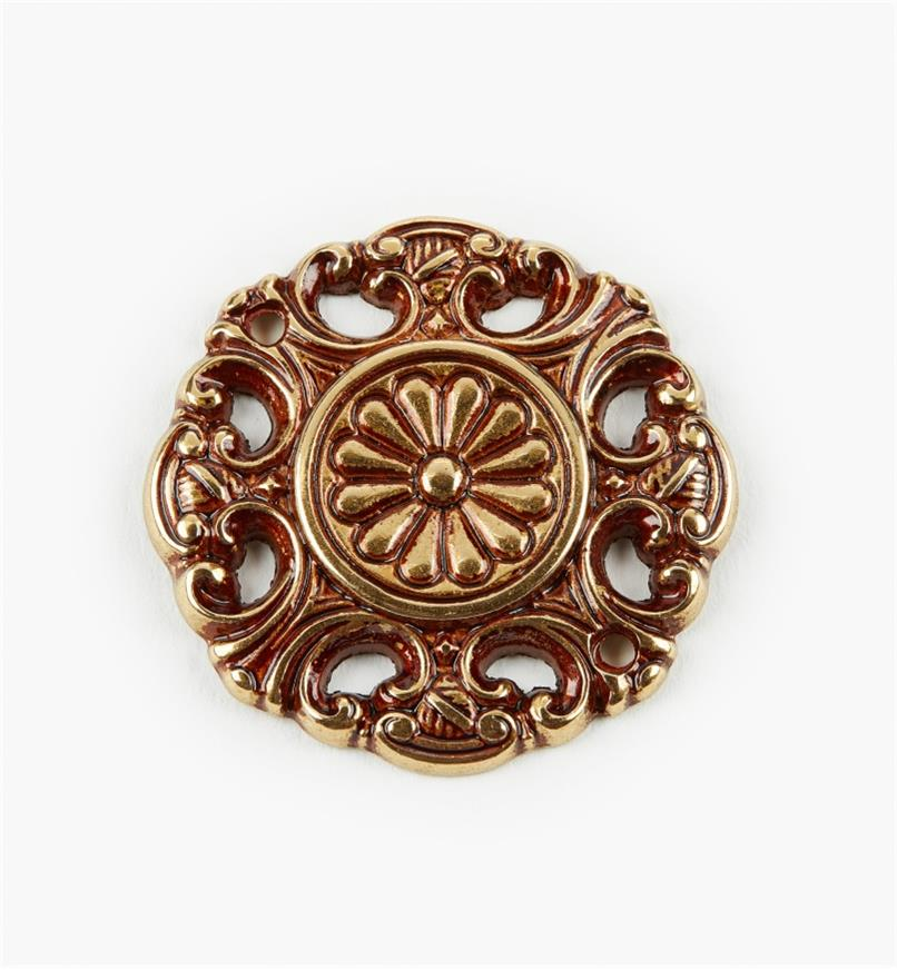 00A8810 - Applique en laiton à motif floral de 39mm, sérieI