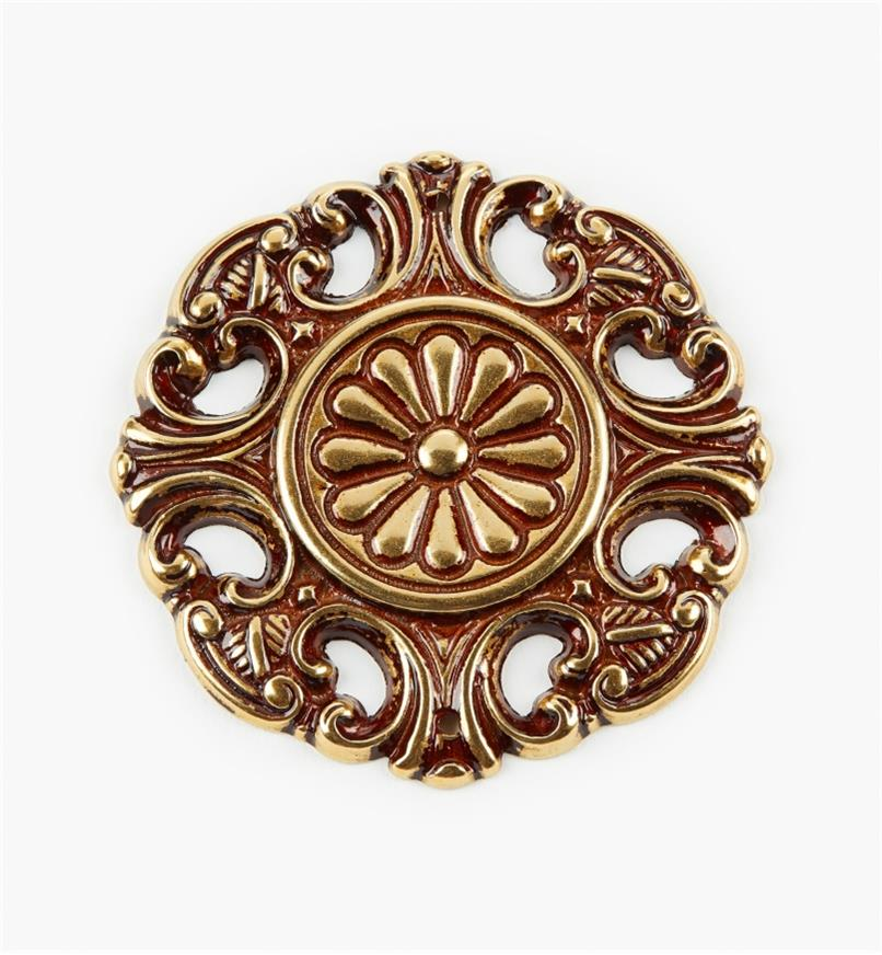 00A8830 - Applique en laiton à motif floral de 65mm, sérieI