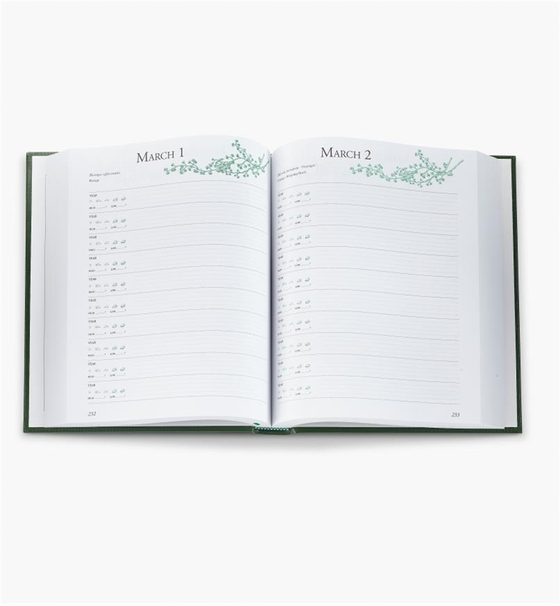 A Gardener's Journal opened to a diary spread