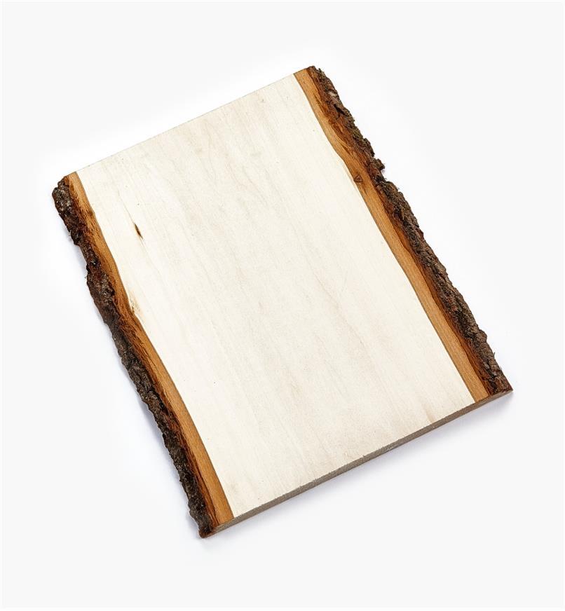 38N1251 - Plaque rectangulaire en tilleul avec écorce, 10po × 13po