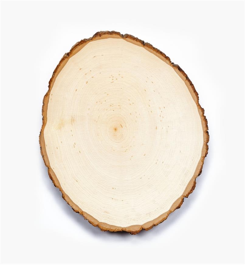 38N1263 - Plaque ovale en tilleul avec écorce, 10po × 13po