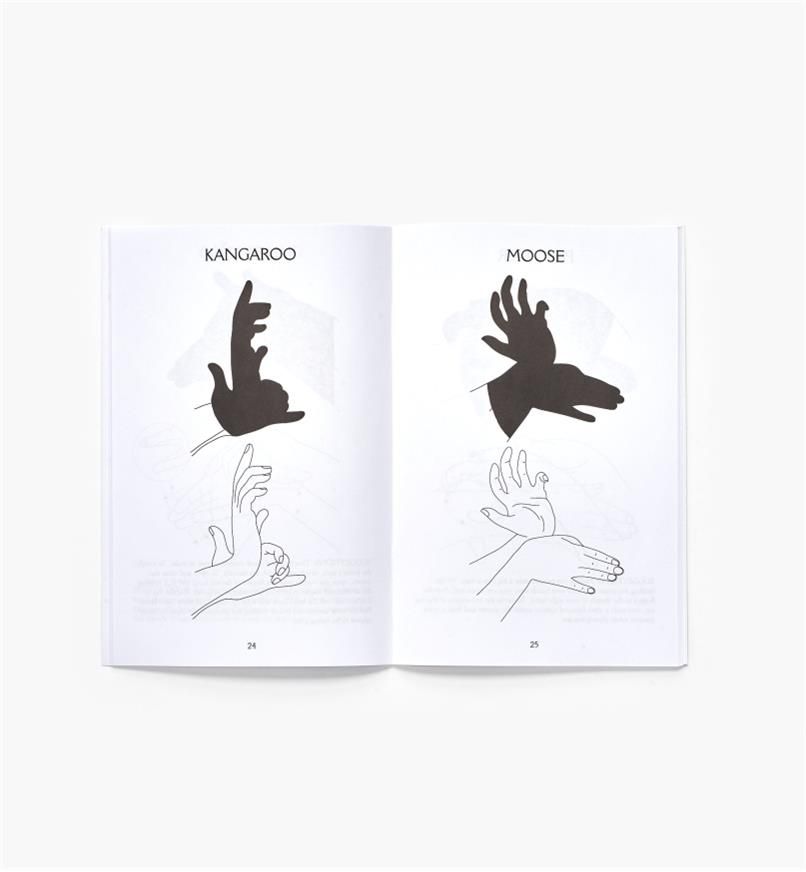 Open spread of Classic Art of Hand Shadows showing how to make a kangaroo and a moose
