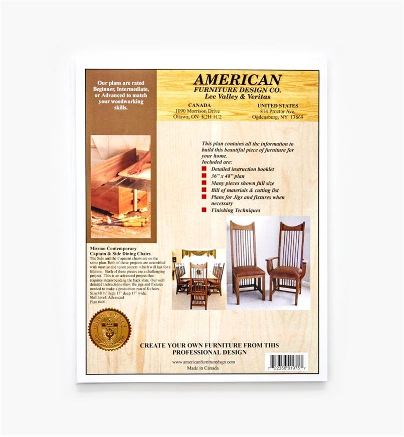 01L5130 - Contemporary Captain & Side Dining Chairs Plan