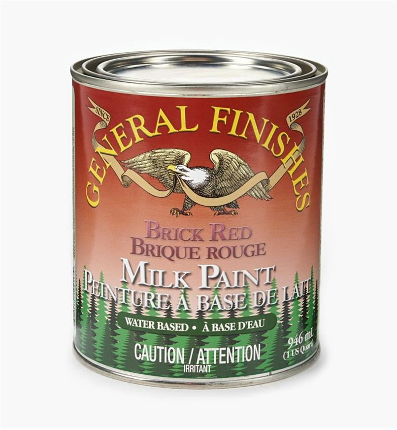 56Z1717 - Brick Red General Milk Paint, 1 qt.
