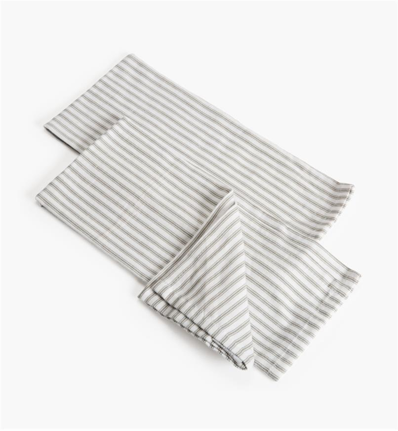 88K5863 - Gray Stripe Glass Towels, pr.