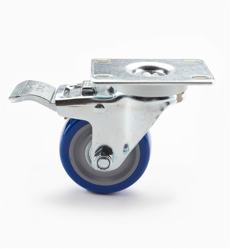 "00K2131 - Heavy-Duty Polyurethane Swivel Caster w/Brake, 3"" x 4"" (100kg)"