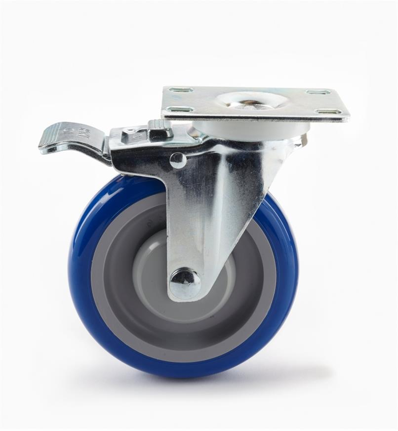 "00K2151 - Heavy-Duty Polyurethane Swivel Caster w/Brake, 5"" x 6"" (120kg)"