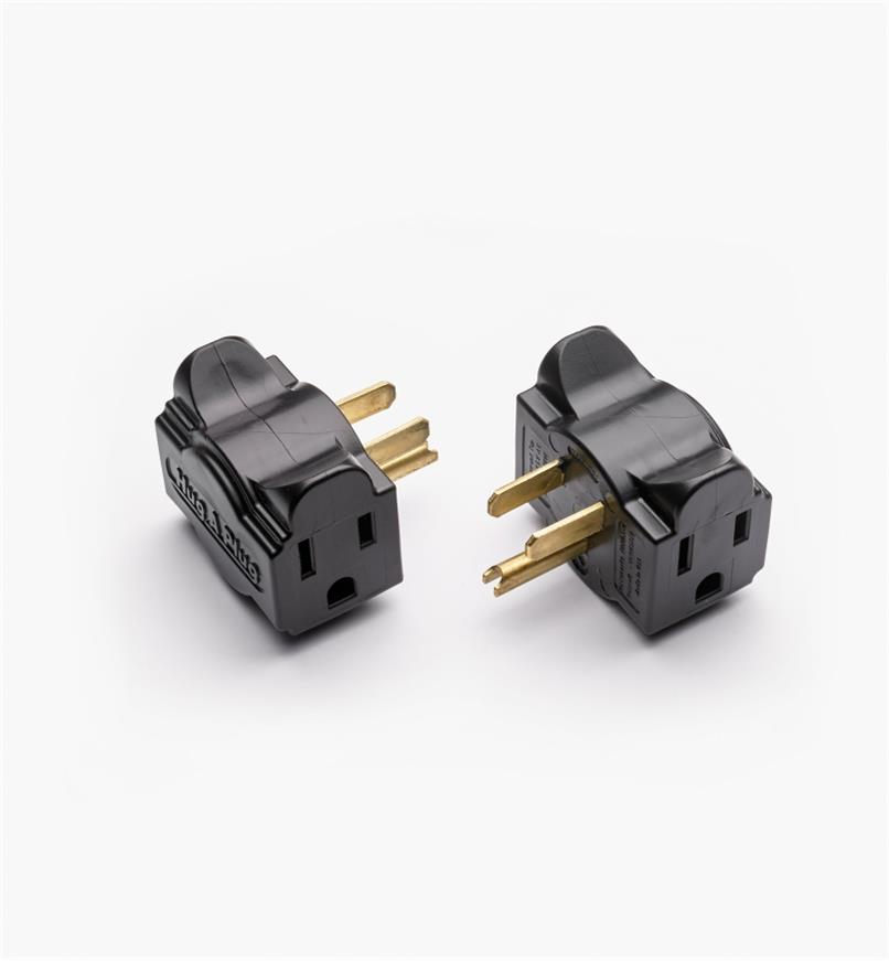 09A0853 - Black Hug-A-Plug Low-Profile Plug Adapter, pair