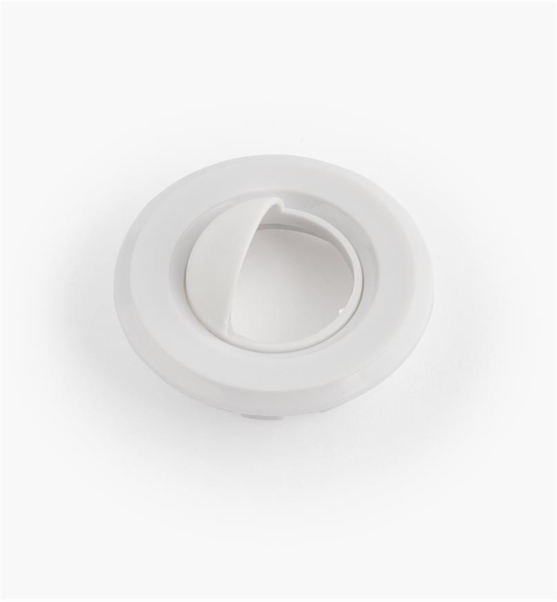 "00U4355 - 1 1/2"" White Round Polycarbonate Trim Ring with Shield"