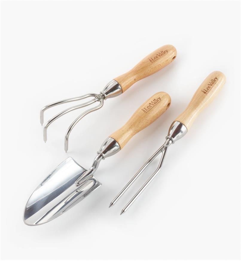 AB630 - Set of 3 Lee Valley Garden Tools (3-Prong Cultivator, Trowel & Jekyll Weeder)