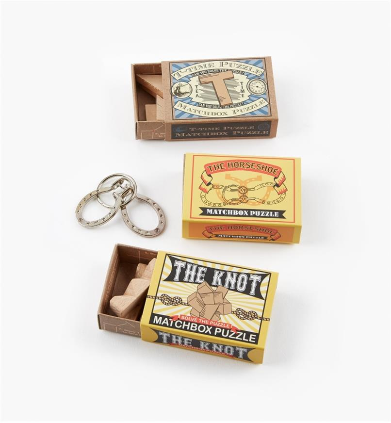 45K5026 - Matchbox Puzzle Set #1 (Knot, Horseshoe, T-Time)