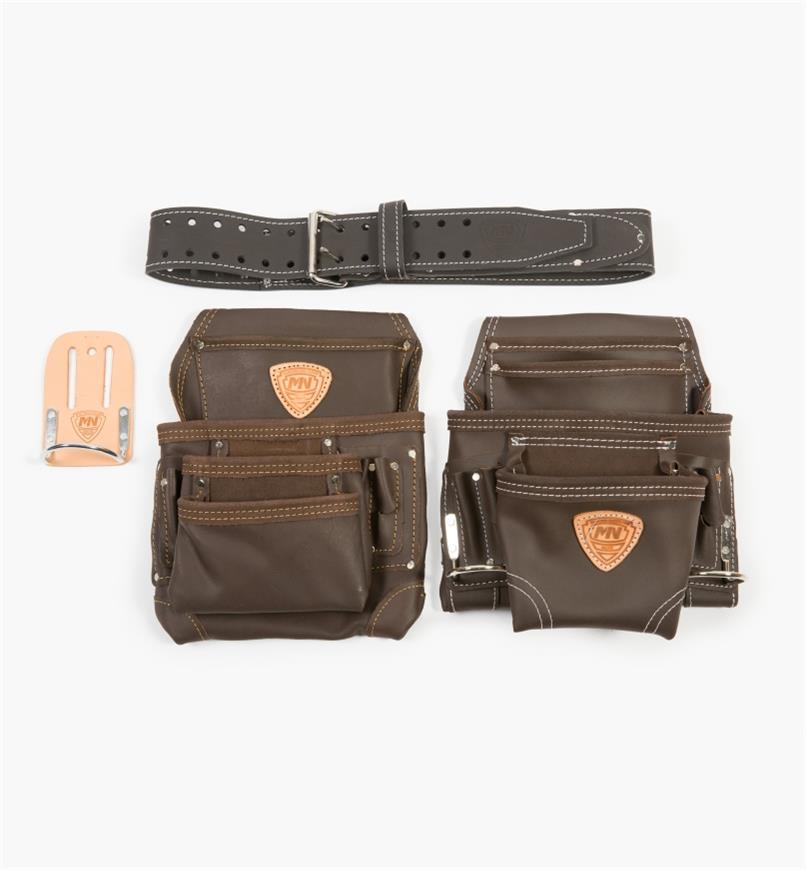 67K7537 - McGuire-Nicholas 4-Pc. Apron Set, Leather Belt