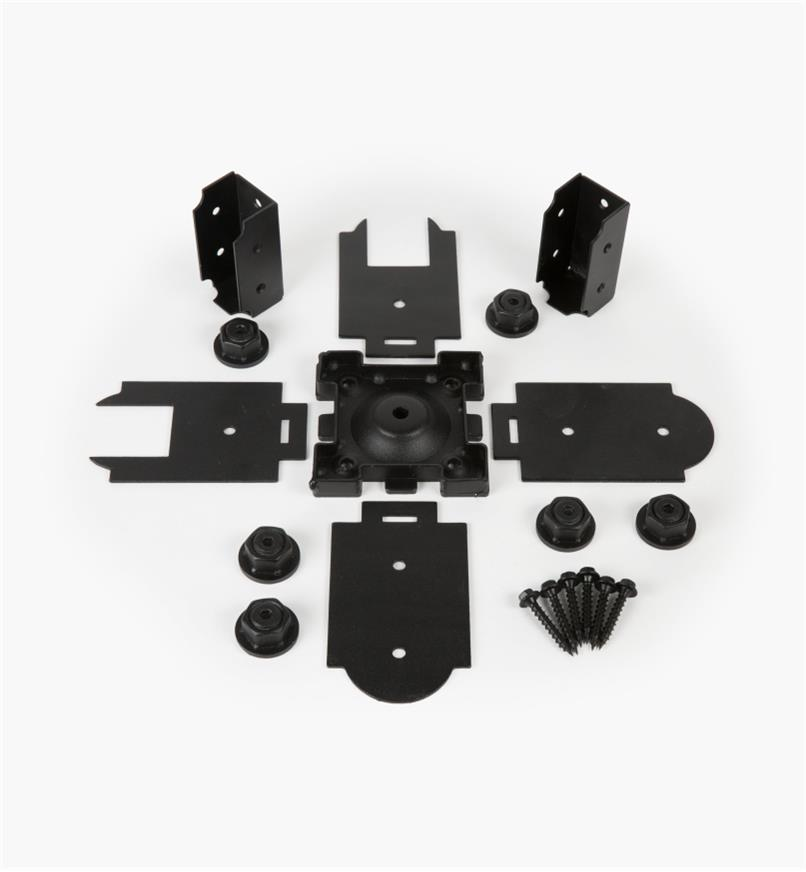 01S1870 - Base pour poteau de 4po x 4po Ozco, deuxconnecteurs