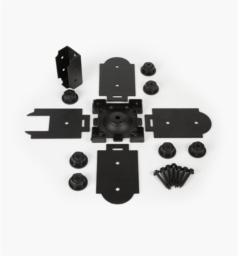 01S1871 - Base pour poteau de 4po x 4po Ozco, connecteur unique
