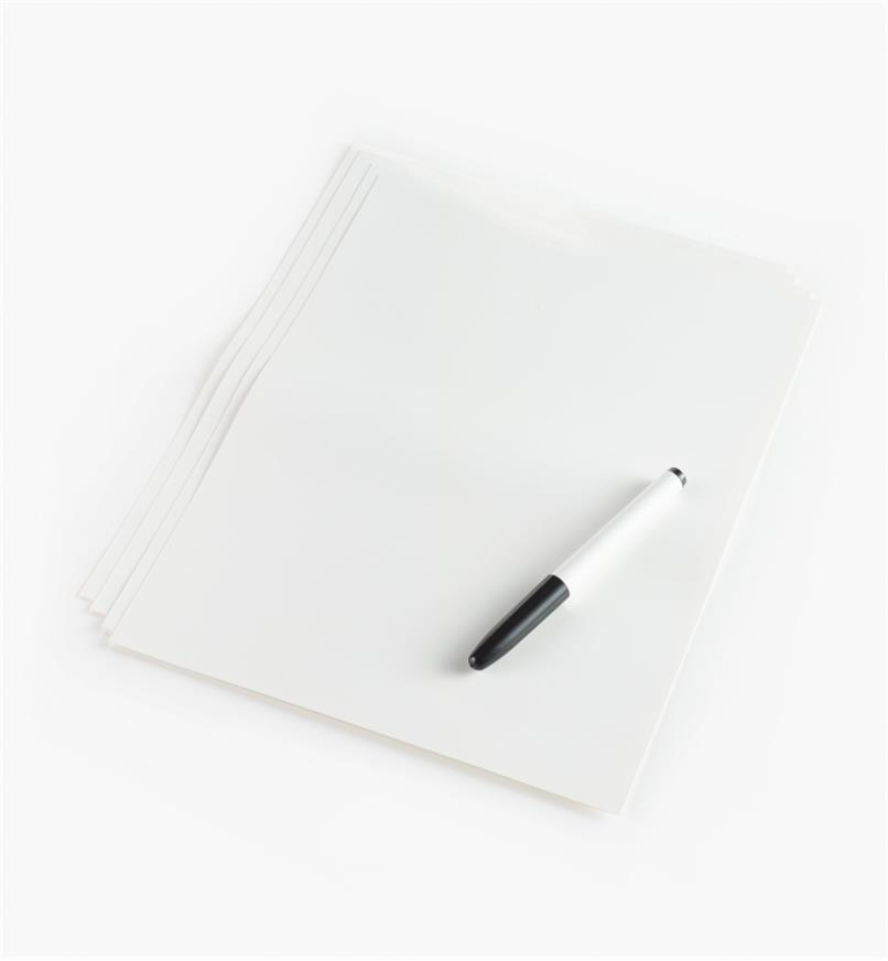 "88K9621 - 9"" x 12"" Peel-and-Stick Dry-Erase Sheets, pkg. of 4"