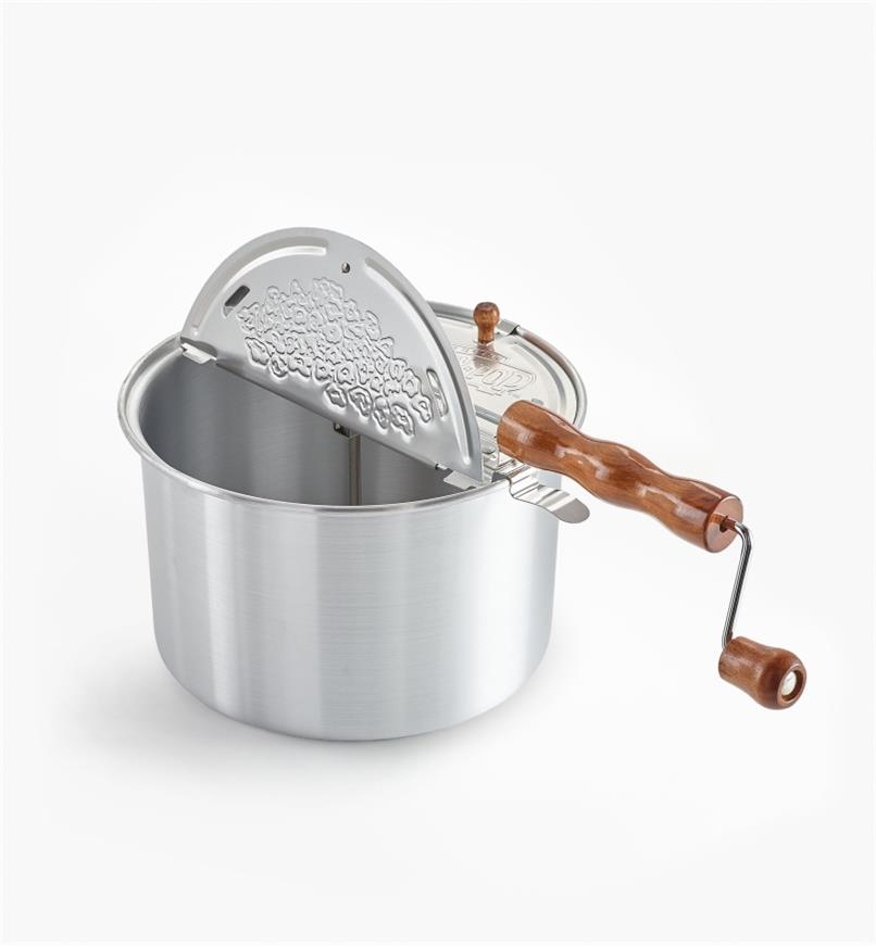 Whirley-Pop Popcorn Popper with lid open