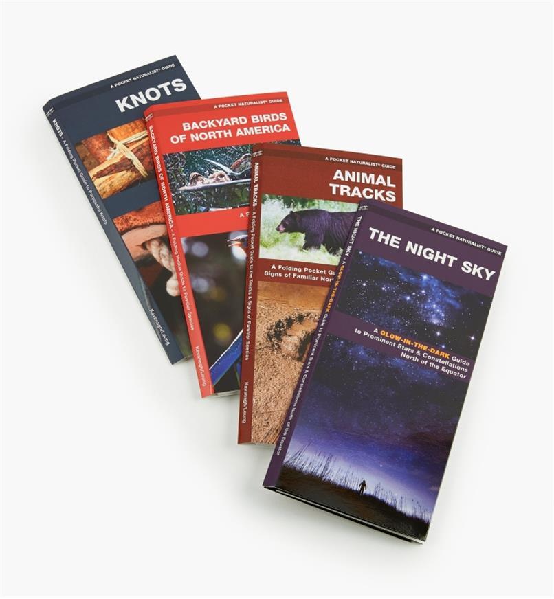 LA267 - Set of Four Pocket Guides(Night Sky, Animal Tracks, Backyard Birds, Knots)