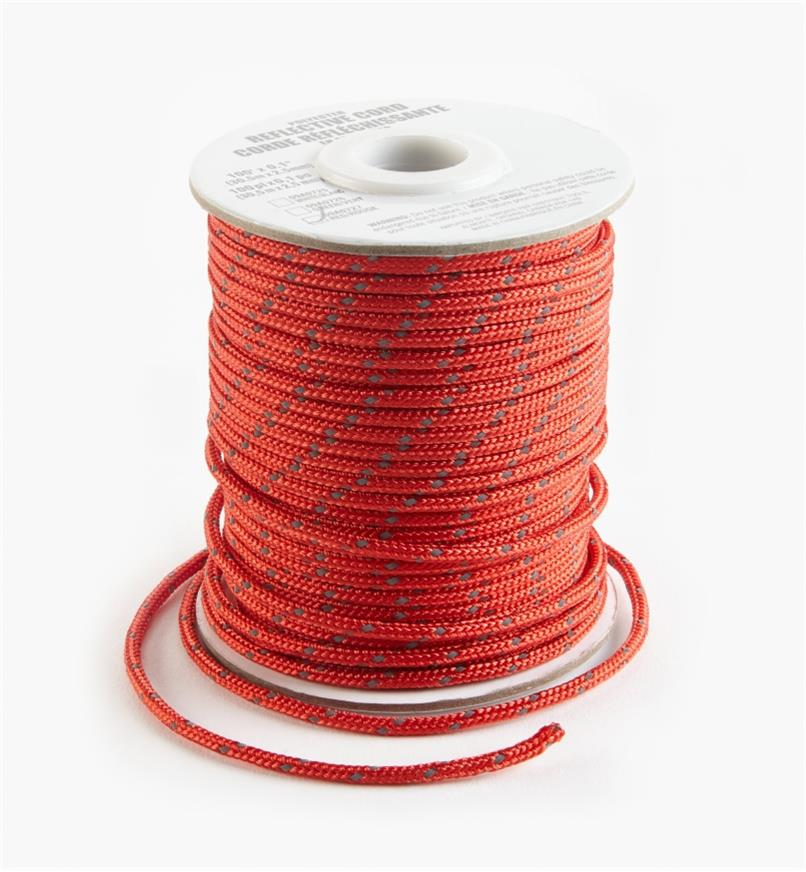 09A0727 - Corde réfléchissante, 100pi, rouge