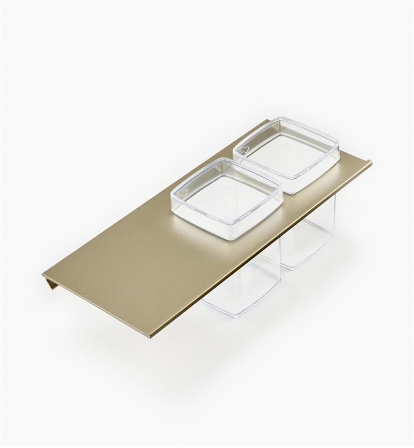 12K5122 - Tablette porte-contenants pour rail en aluminium de 30cm et 2 contenants en plastique
