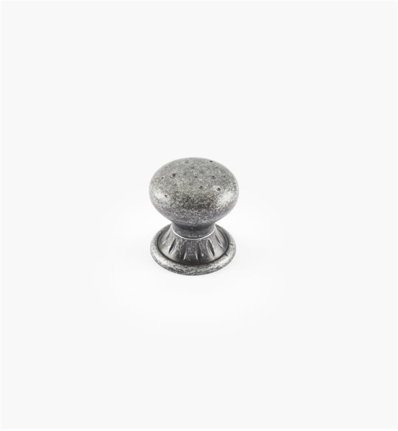 02A2624 - Bouton de 1 1/4 po x 1 1/4 po sur platine ronde Ambrosia, fini fer forgé