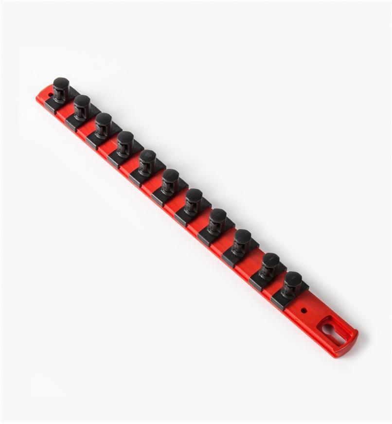 """27K8048 - 1/2"""" Drive Socket Organizer (13"""" Rail, 11 pegs)"""