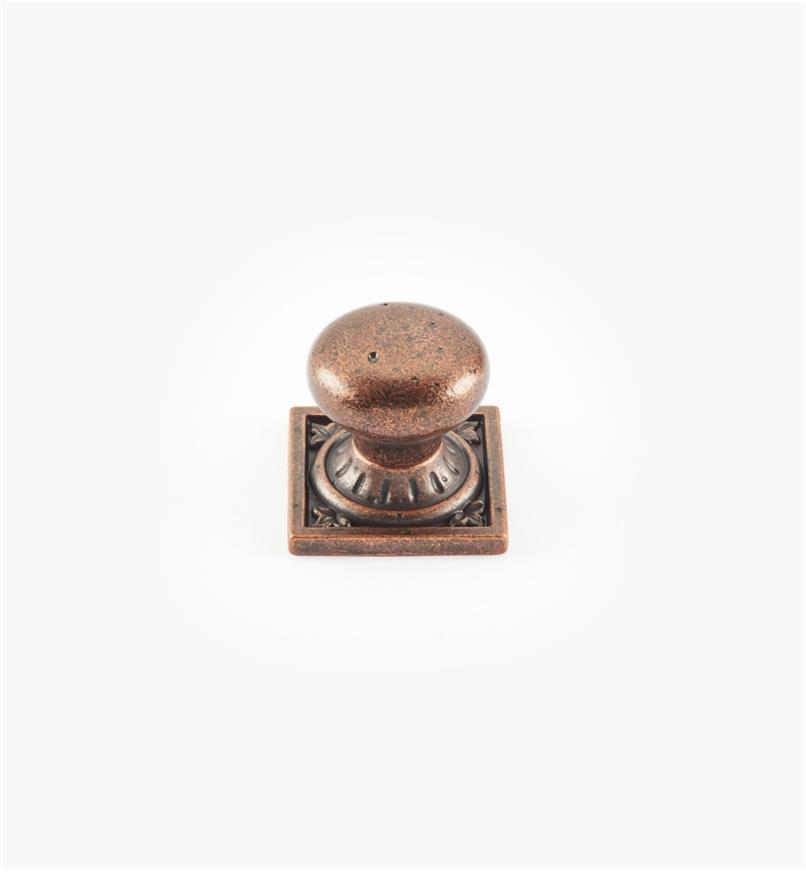02A2613 - Bouton de 1 1/4 po x 1 1/4 po sur platine carrée Ambrosia, fini bronze cuivré