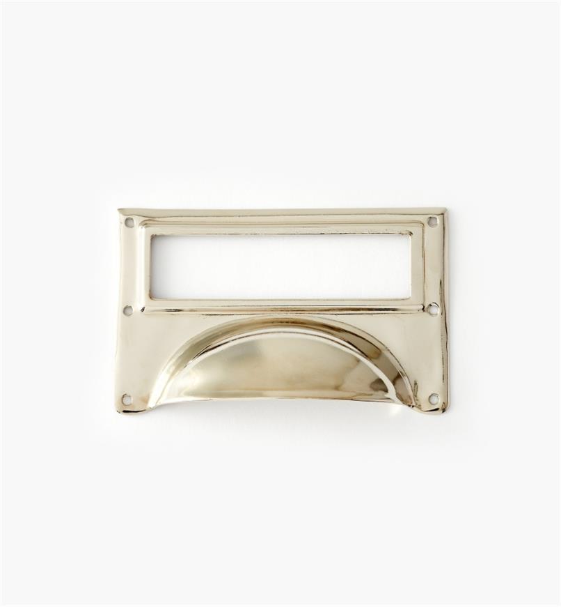 01A5735 - Porte-étiquette à poignée en laiton, plaqué chrome