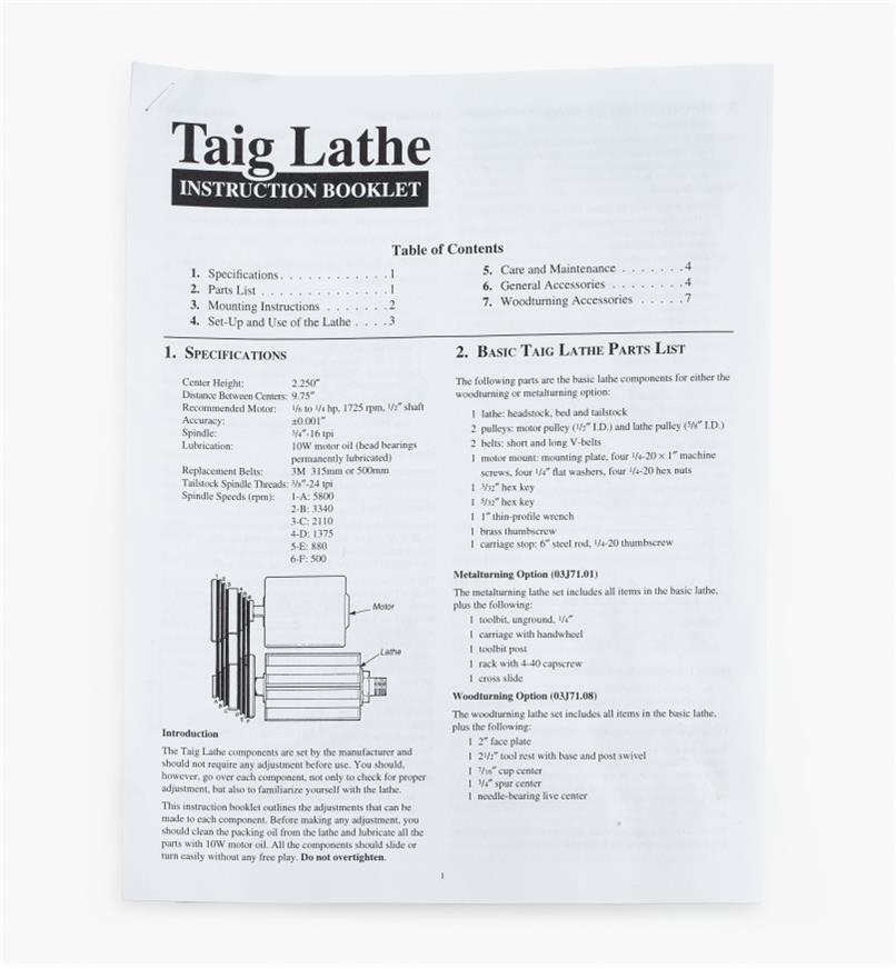 03J7100 - Taig Lathe Instruction Booklet