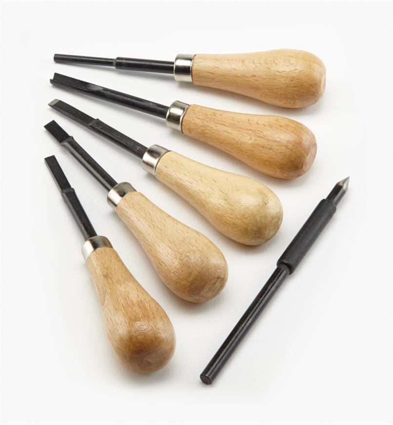 09A0589 - Jeu d'outils pour gravure sur ardoise pour adultes