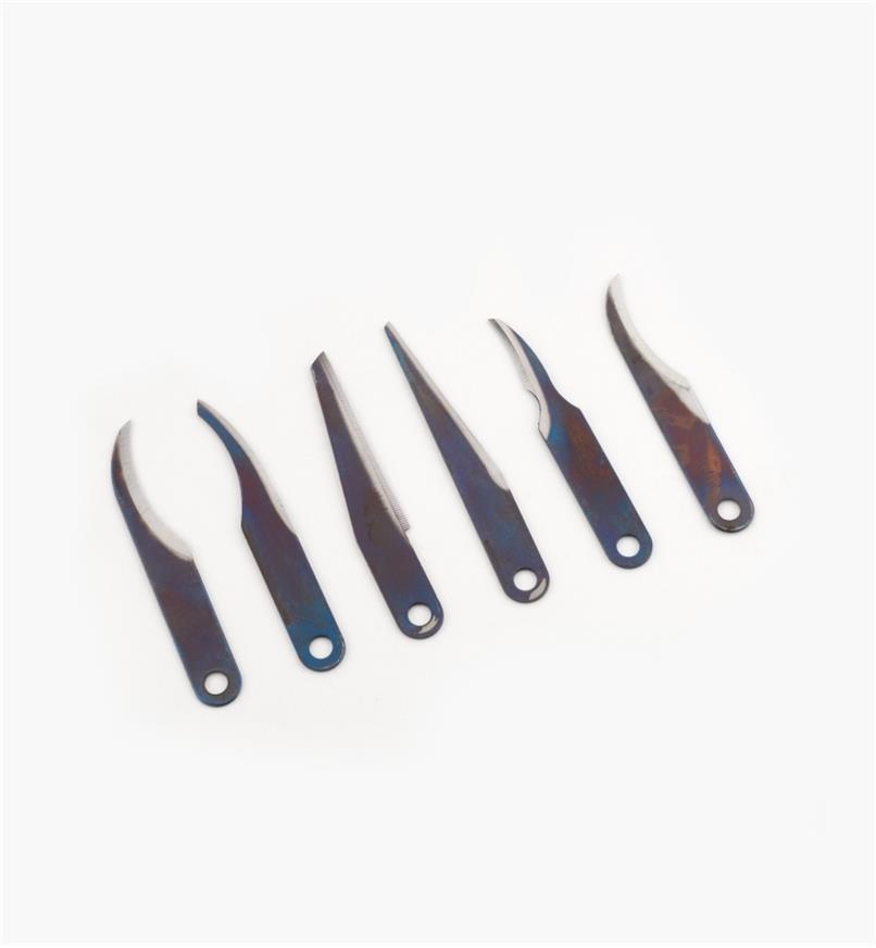 81D0110 - Lames de couteau Warren, le jeu de 6 (1 de chaque modèle)