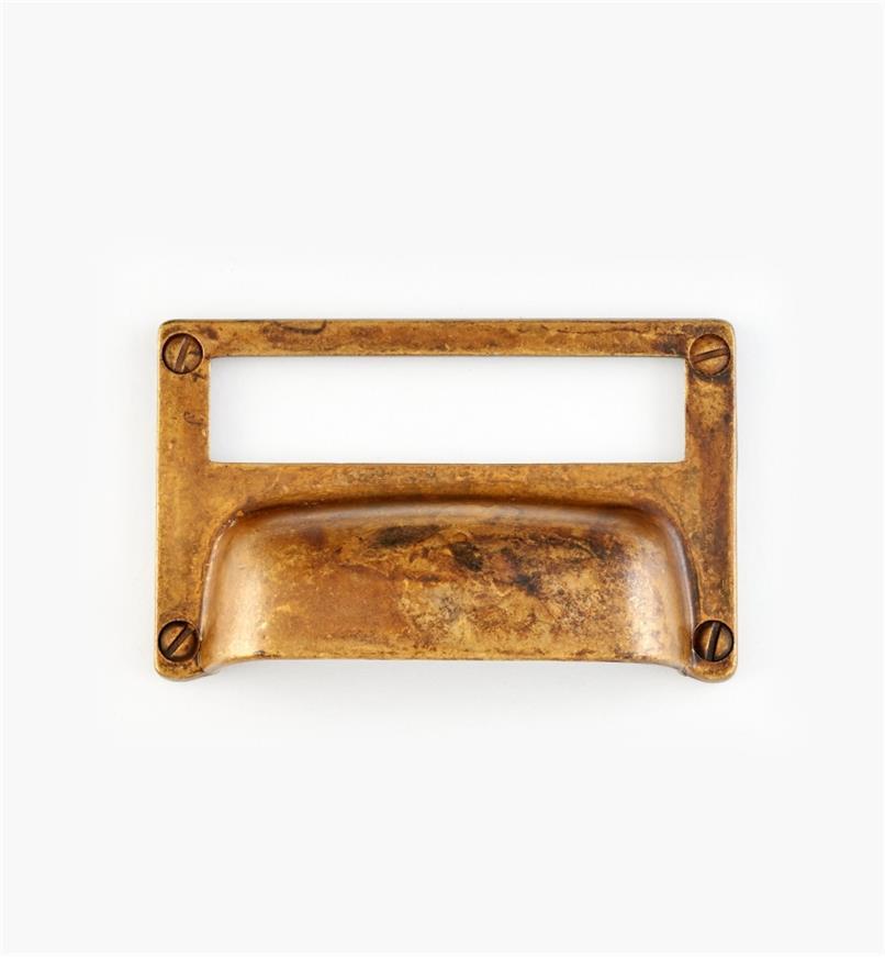 01A5760 - Porte-étiquette à poignée, laiton ancien, 3 1/4 po x 2 po