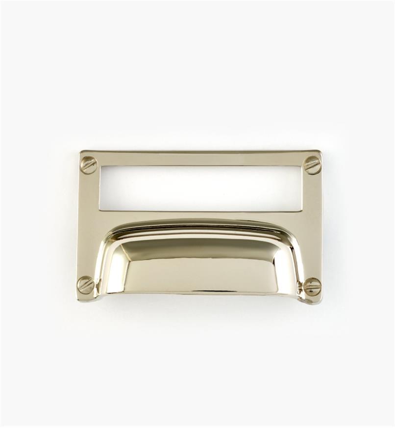 01A5765 - Porte-étiquette à poignée, plaqué chrome, 3 1/4 po x 2 po