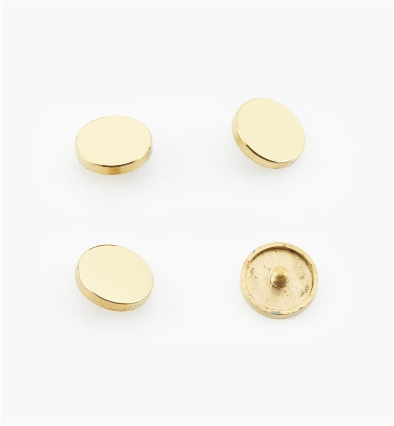 "00K4521 - 9/16"" Polished Brass Flat Cap #2, pkg. of 4"
