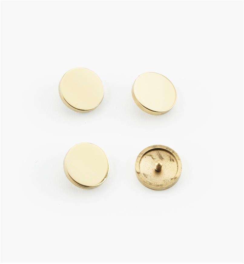 "00K4522 - 3/4"" Polished Brass Flat Cap #3, pkg. of 4"