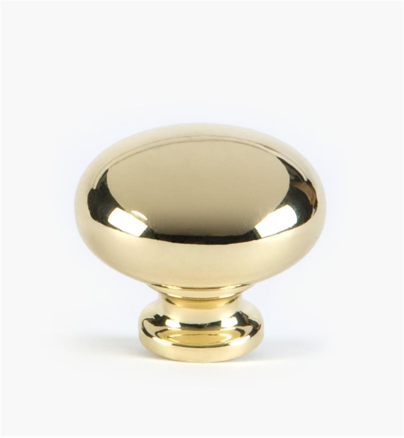 """03W1930 - 1 1/4"""" x 1"""" Brass Plate Knob, each"""