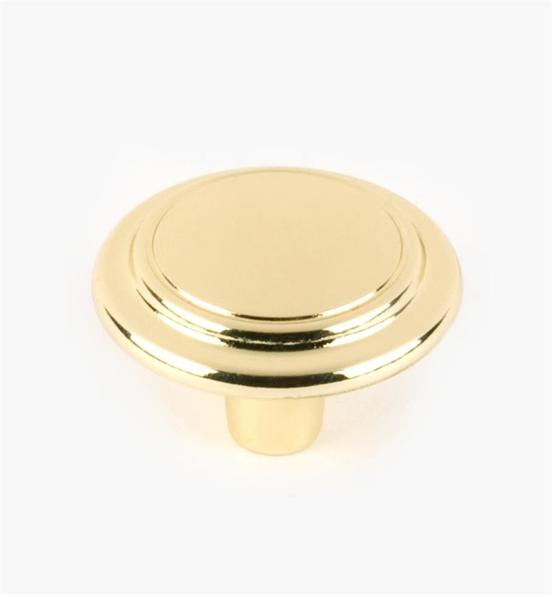 "03W1940 - 1 1/4"" x 7/8"" Brass Plate Accent Knob, each"