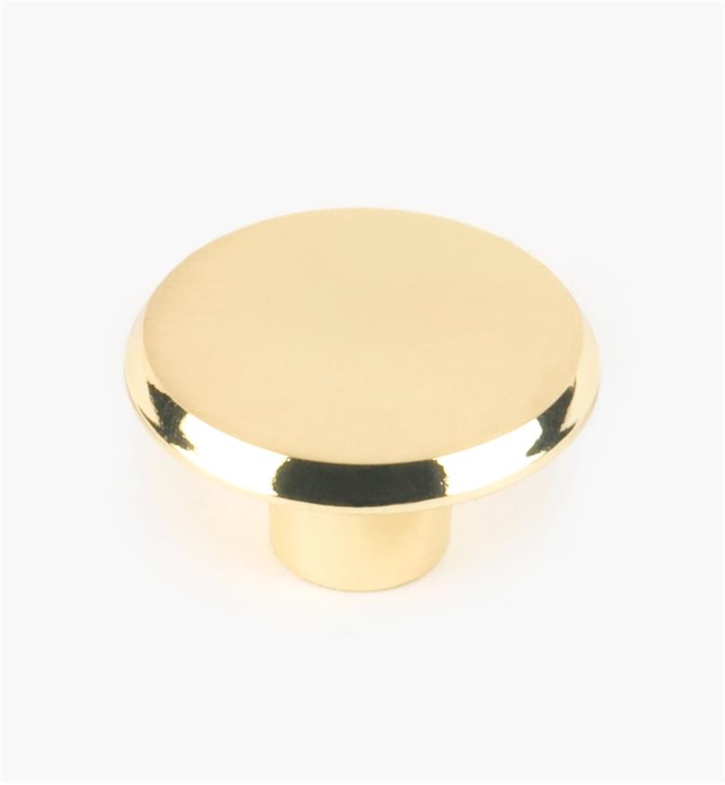 "03W1950 - 1 1/2"" × 7/8"" Brass Plate Concave Knob, each"