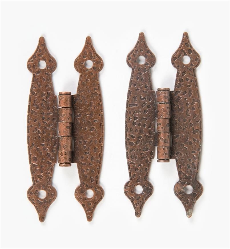 03W2506 - Belwith Country-Style Antique Copper Flush Hinges, pair