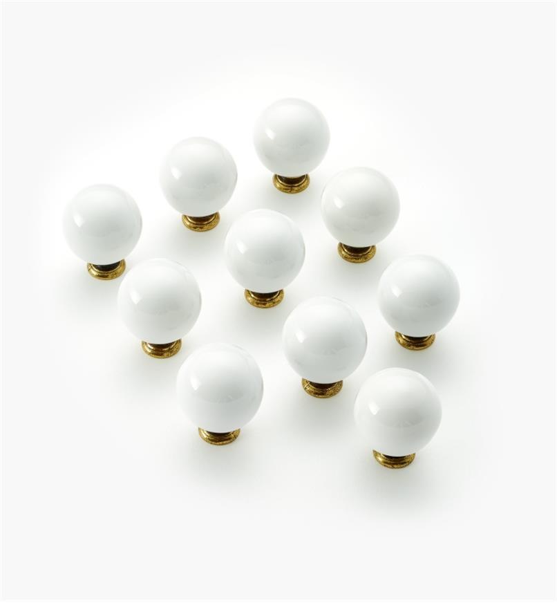 """03W2601 - 1 1/4"""" Belwith Ceramic Rd. Knob, pkg. of 10"""