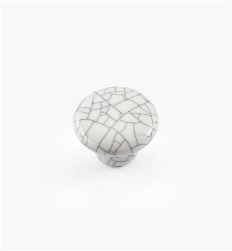 "00W5201 - 1"" x 3/4"" White Crackle Knob"
