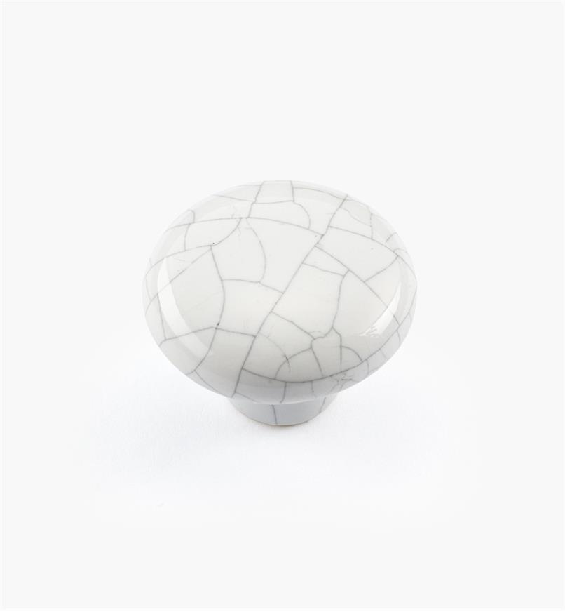 "00W5202 - 1 1/4"" x 15/16"" White Crackle Knob"