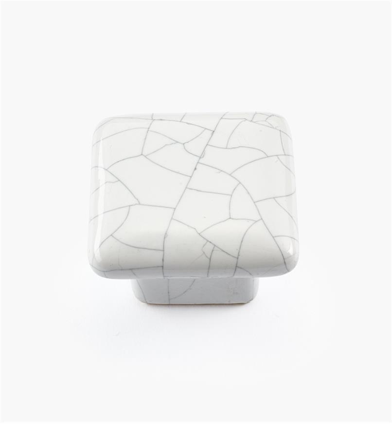 00W5205 - Bouton carré en céramique, série Craquelé, blanc, 1 1/2 po x 1 1/16 po