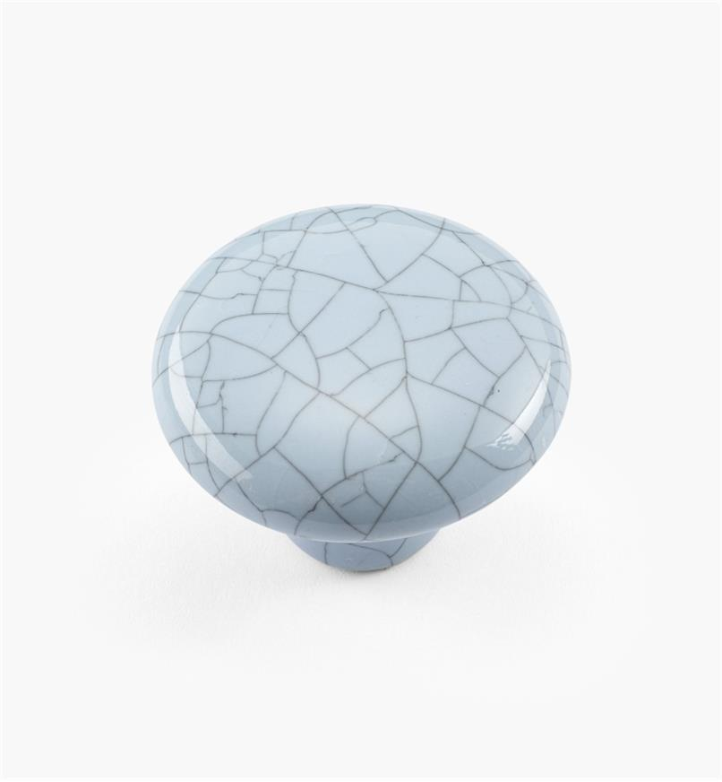 "00W5213 - 1 1/2"" x 1 1/16"" Blue Crackle Knob"