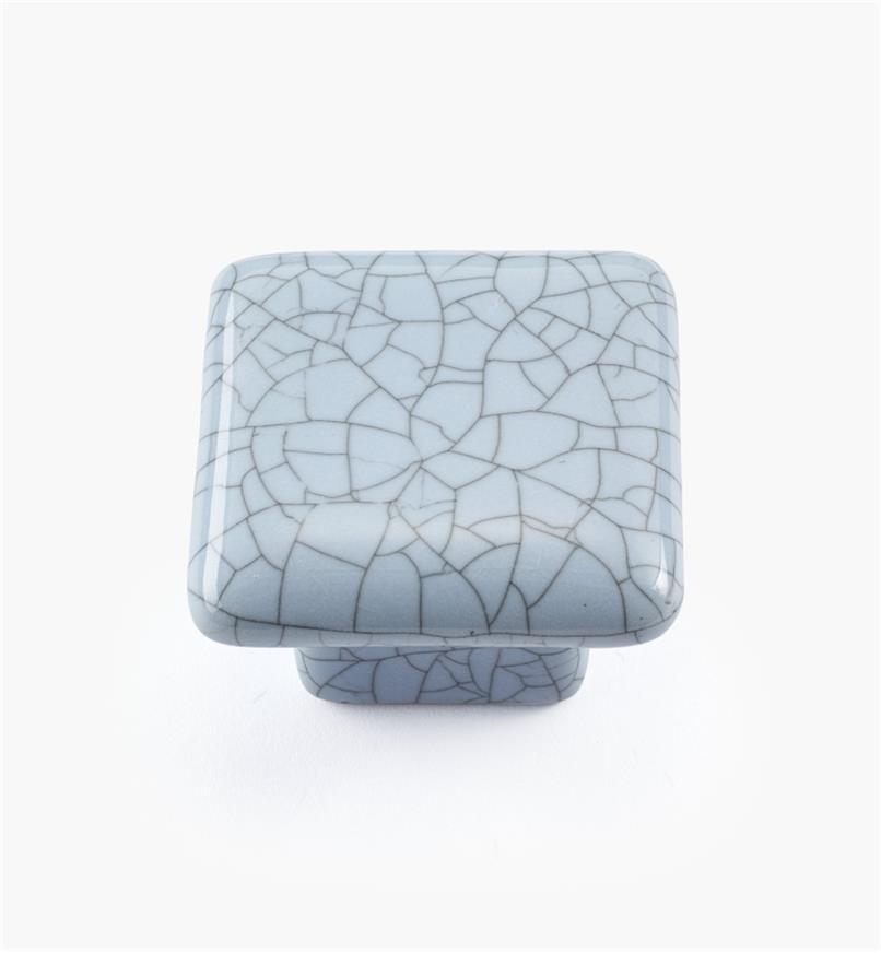 00W5215 - Bouton carré en céramique, série Craquelé, bleu, 1 1/2 po x 1 1/16 po