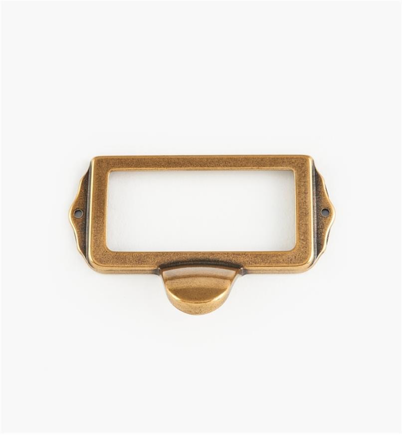 01A5752 - Porte-étiquette à tirette, bronze bruni, 75 mm x 35 mm
